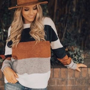 TONI Softest Color Block Sweater